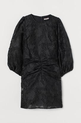 H&M Puff-sleeved Brocade Dress - Black