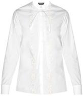 Rochas Flower-appliqué cotton-poplin shirt