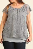 Umgee USA Grey Plus Lace Top
