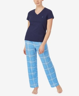 Nautica Women's V-Neck Short Sleeve Pajama Top with Long Printed Pant