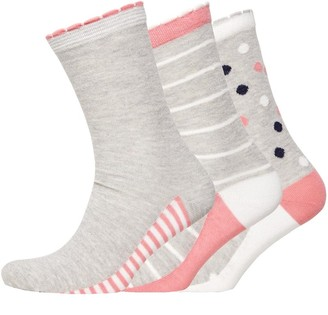 Jaeger Womens Three Pack Picot Tipping Socks Stripes Spot Grey