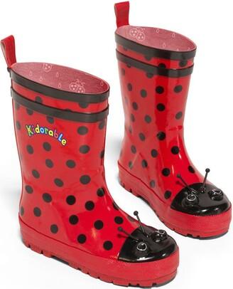 Kidorable Girl's Ladybug Rain Boots