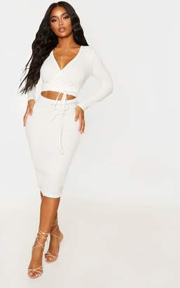 PrettyLittleThing Shape Cream Ribbed Wrap Waist Midi Dress