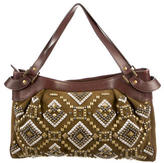 Kotur Leather Trimmed Studded Shoulder Bag