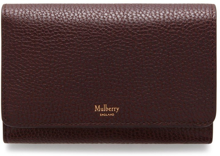 Mulberry Medium Continental French Purse Oxblood Natural Grain Leather