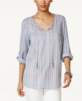 Style&Co. Style & Co Striped Roll-Tab Top, Only at Macy's