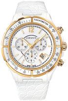 Versace 43mm Men's DV One Ceramic Chronograph Watch, White/Golden