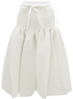 Horror Vacui Ted Pintucked Cotton Midi Skirt - White