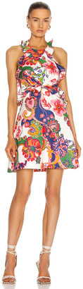 Zimmermann Lovestruck Tie Back Mini Dress in Natural Paisley Floral | FWRD