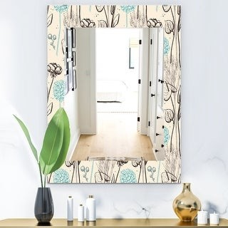 Design Art Designart Vintage Flower Pattern Bohemian And Eclectic Mirror Modern Wall Mirror Shopstyle