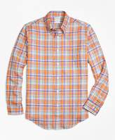 Brooks Brothers Regent Fit Orange Plaid Irish Linen Sport Shirt