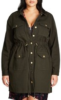 City Chic Plus Size Women's Adventure Time Long Utility Jacket