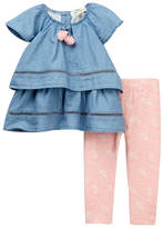 Jessica Simpson Chambray Top & Printed Legging 2-Piece Set (Baby Girls)