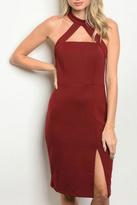 Do & Be Wine Slit Dress