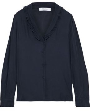 Frame Ruffle-trimmed Washed-silk Blouse