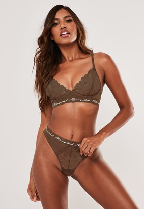Missguided Olive Lace Triangle Bra