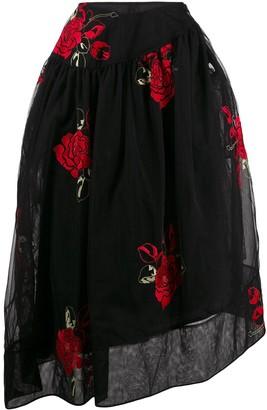 Simone Rocha Asymmetric Embroidered Flower Skirt