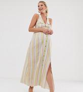 Asos DESIGN Maternity button through halter neck maxi dress in stripe