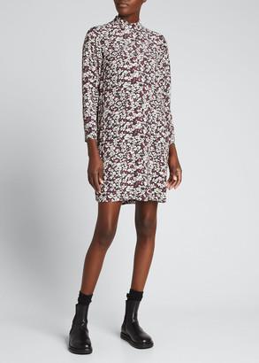 Ganni Floral-Print Mock-Neck Shift Dress