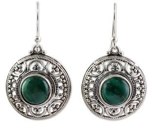 Novica Malachite Dangle Earrings, 'Graceful Green'