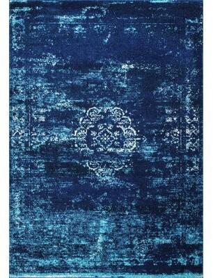"Wrought Studioâ""¢ Thorne Abstract Power Loom Blue/Ivory/Azure Rug Wrought Studioa Rug Size: Rectangle 4' x 6'"