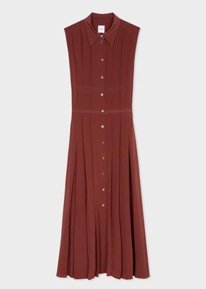 Paul Smith Women's Burgundy Pleated Silk Maxi Dress