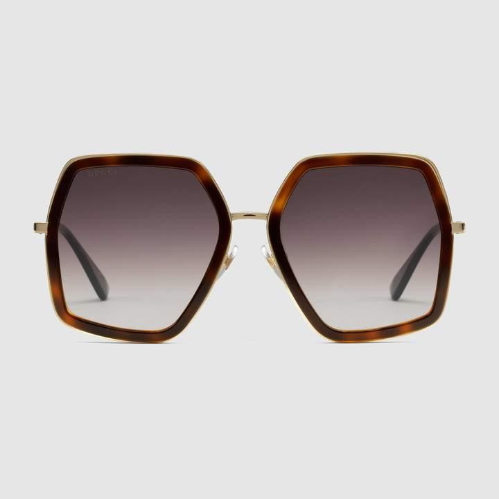 Gucci Oversize square-frame metal sunglasses