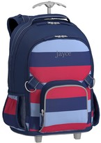 Pottery Barn Kids Rolling Backpack, Fairfax Stripe Navy Multi, No Patch