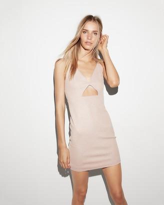 Express Metallic Cut-Out Mini Sheath Dress