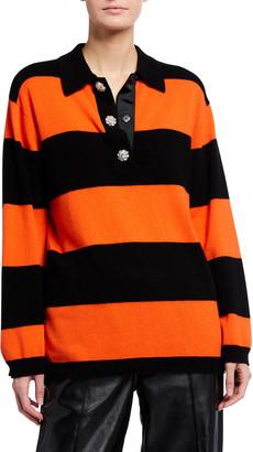 Ganni Striped Cashmere Knit Polo Top