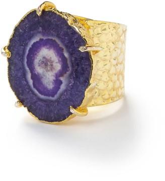Yaa Yaa London Purple 'Solar Power' Gold Adjustable Statement Ring