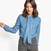 Vila Plain Long-Sleeved Shirt with Polo Shirt Collar