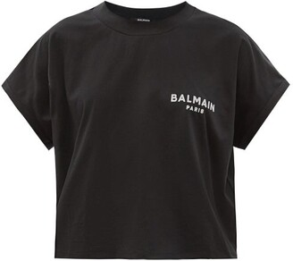 Balmain Logo-flocked Cropped Cotton-jersey T-shirt - Black White