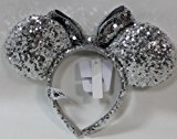 Disney Parks Silver Sequined Minnie Mouse Headband - Disney Parks Exclusive & Limited Availability + BONUS Minnie Double Sided Stamp Included