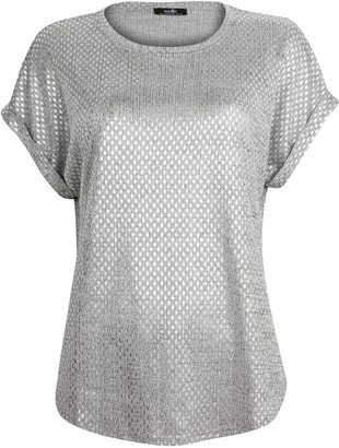 Wallis Silver Metallic Textured T-Shirt