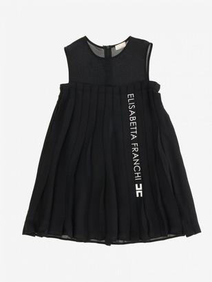 Elisabetta Franchi Pleated Dress With Logo