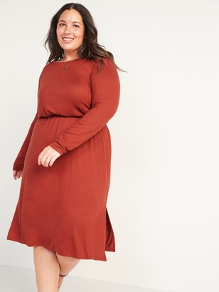 Old Navy Cozy Plush-Knit Waist-Defined Plus-Size Midi Dress