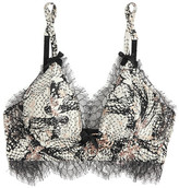 Agent Provocateur Pearle Leavers Lace-trimmed Printed Stretch Silk-satin Plunge Bra