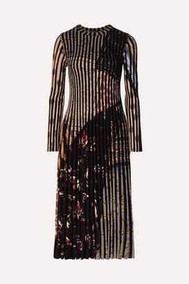 Etro Pleated Jacquard-knit Midi Dress - Black