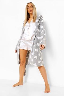 boohoo Heart Print Luxury Fleece dressing gown