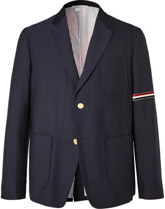 Thom Browne Striped Velvet-Trimmed Unstructured Wool And Cotton-Blend Blazer