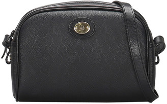Christian Dior Black Honeycomb Leather Crossbody Bag