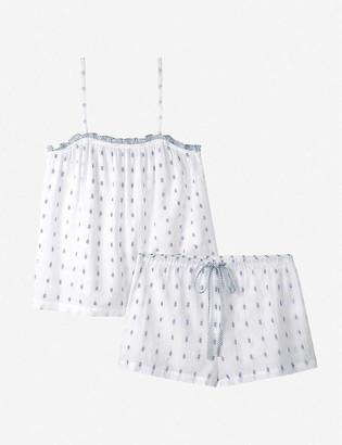 The White Company Ruffle-trimmed patterned short cotton pyjama set