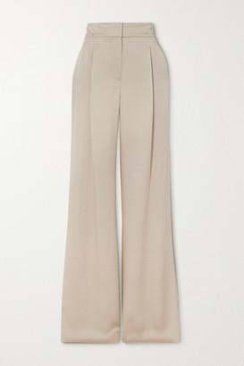Veronica Beard Robinne Satin-crepe Wide-leg Pants - Beige