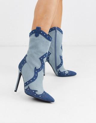 Asos Design DESIGN Entrance western heeled boots in denim