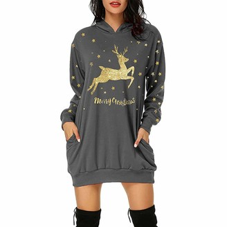 Moent Dresses for Women Casual Party Women's Fashion Christmas Hoodie Bag Hip Pocket Print Hoodie Fashion Dress Christmas Dresses for Women Casual Fall Winter(Gray-3XL)
