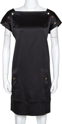 Diane von Furstenberg Black Textured Silk Pisco Shift Dress M
