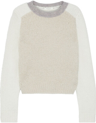 Rag & Bone Davis Color-block Boucle-knit Merino Wool-blend Sweater
