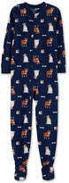 Carter Little & Big Boys Dog-Print Footed Fleece Pajamas