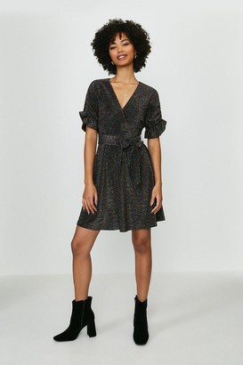Coast Glitter Jersey Ruffle Tie Waist Dress